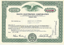 1968 Dalto Electronics Corporation Stock Certificate Delaware Pays cancer bills