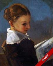 YOUNG GIRL READING A BOOK PAINTING GUSTAVE COURBET FRENCH ART REAL CANVAS PRINT
