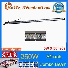 51inch 250W Offroad Single Row CREE LED Light Bar SPOT FLOOD Car Truck SUV /50""
