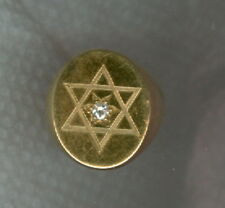 10k Solid Gold Star Of David Men's Ring Appx 12.1 Grams Diamond Accent Sz 5 1/2