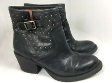 Lucky Brand Black Leather Ankle Boots Studded Grommet Moto Women's 7