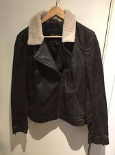 Lakeland Dark Brown REAL LEATHER Jacket with Fur Collar Size 14