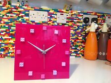 Handmade MOnkiStuff Designed Wall Clock Gloss Dark PINK, made using LEGO® Bricks