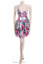 Ladies NEXT Size 6 Pink Silver & Brown Summer Evening Dress Casual Party Frock