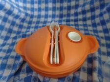 Tupperware Hot Food On-The-Go Set Bowl Microwave Spoon Fork Knife Orange NEW