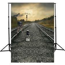 3x5ft Vinyl Train Road Railway Track Theme Photography Background Backdrop Props