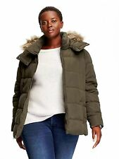OLD NAVY PLUS Green Frost Free Faux Fur Hooded Coat NWT! 2X
