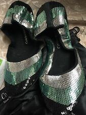 NIB Coldwater Creek Silver Sparkle Burst Sequined Slippers Shoes  Medium 6.5-7.5