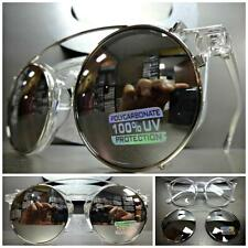 VINTAGE Style Clear Lens CLIP ON SUN GLASSES Round Transparent Frame Mirror Lens