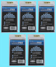 "5 Ultra Pro 1/4"" 4-SCREW SCREWDOWN NON RECESSED Standard Trading Card Holder 3x5"