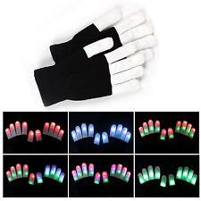 Fashion Cool LED Rave Flashing Gloves Glow 7 Mode Light Up Finger Lighting BQ