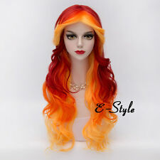 Red Mixed Orange 75CM Long Curly Hair Lolita Women Girls Anime Cosplay Party Wig