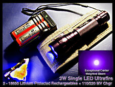 Ultrafire 18650 395nm UV Ultraviolet Single LED Mineral Light w/3ah Batt+MV Chgr