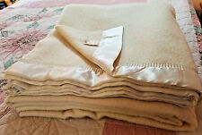 Golden Dawn 100% Wool  Blanket J C Penney Light Yellow W Satin Trim 74 x 88 F/Qu