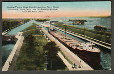 unmailed post card Soo Locks steamship North-West & Ore freighter/Power House