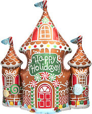 "Happy Holidays Gingerbread House Christmas 33"" Foil Balloon Helium or Air"