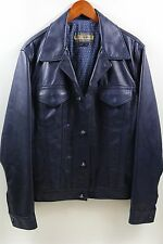 Schott NYC Perfecto Brand Blue Leather Jacket Size L