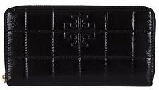 NEW Tory Burch 32159039 Black Quilted Patent Leather T Logo Zip Around Wallet