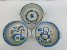 M.A. MARY ALICE HADLEY POTTERY 3 HANDLE SOUP BOWL CEREAL CHICKEN HORSE COUNTRY