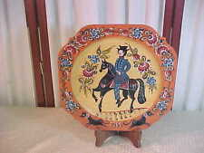 1988 Beautiful Handpainted Wooden Square Collector Plate