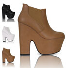 NEWWOMENS LADIES DEMI WEDGE PLATFORM ANKLE HIGH CHUNKY HEEL BOOTS SHOES