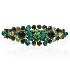 BA42 Green Australia Crystal Flower Gold Tone Alloy Barrette Hair Clip