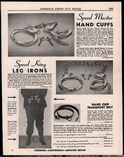 1948 Speed Master HAND CUFFS Leg Irons Antique Police Equipment AD ADVERTISING