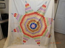 Vintage Feed Sack Feed Bag Quilt Top Lone Star Pattern Feed Sack Border Machine