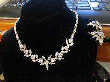STUNNING VINTAGE BOGOFF RHINESTONE NECKLACE AND EARRINGS DEMI PARUE