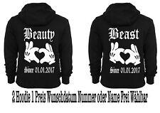 Beauty Beast Hoodie Pullover 2 Stück Partner Look Pärchen Viele Farben XS - 5XL