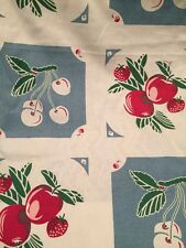 Vintage STYLE Kitchen Towel Fabric MODA HOME  Kitchen Blue Cherries Apples Fruit