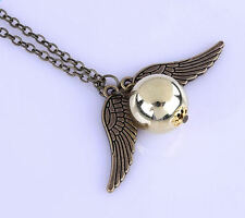 Harry Potter Inspired Golden Snitch Seeker Ball Winged Pendant Necklace Jewelry