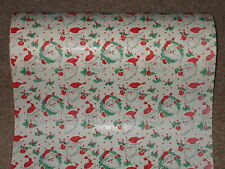 VTG 1950's CHRISTMAS DEPT. STORE WRAPPING PAPER 2 YARDS GIFT WRAP SANTA POST WW2