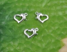 5Pcs Silver plated Heart Lobster Clasps Connectors 12mm