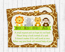 Cute Jungle Safari Animals Printable Baby Shower Book Request Cards