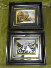 Vintage French Limoges 2 Enamel on Copper on painting farm & alpine tyrol lake