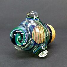 Green Brown Stripe Glass Jar Magnifier Herb Pipe Tobacco Coin Hand Blown Jug