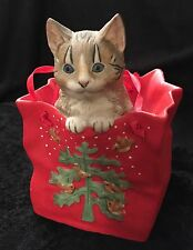 "'Cat Peeking out of Bag' Music Box ""Have Yourself a Merry Little Christmas"""