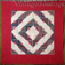 """Gorgeous! ANTIQUE Never Used c1880 Log Cabin QUILT 76x76""""RED"""