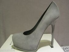YSL Yves Saint Laurent Tribtoo Flannel Gray Suede Pumps Shoes Heels 40 10