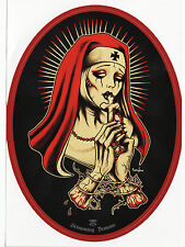 DARK RELIGIOUS ZOMBIE NUN BLOOD CRUCIFIX TATTOO ROSARY NECKLACE VINYL STICKER A6