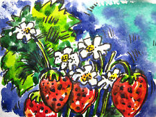 Strawberries Berries White Flowers Farm Collectible ACEO Art Card