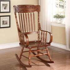 Kloris Collection Transitional Living Room Rocking Chair Wood Tabacco Curved Arm