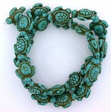 18mm x 14mm Turtle Synthetic Turquoise Beads 15 Inch Strand