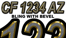 CUSTOM BLING Boat Registration Numbers PWC Decals Stickers Graphics CF, NV AZ...