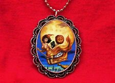 WITCH PIN UP GIRL OPTICAL ILLUSION SKULL CAT NECKLACE