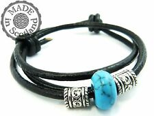 3MM LEATHER, TIBETAN SILVER & TURQUOISE GEM STONE SURFER BEADED BRACELET CUFF