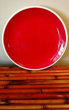 "6 1/2"" Christmas Red Glazed Round Appetizer/Dessert Plate with White Raised Rim"