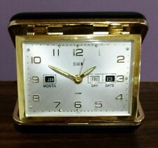 Vintage Elgin Travel Alarm Clock/ Month, Day, Date/ Windup~Folding Case~JAPAN