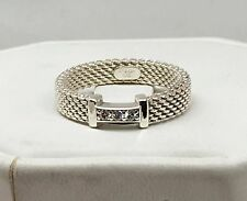 Tiffany & Co Somerset Sterling Silver 925 Diamond Narrow Ring Size 5.5